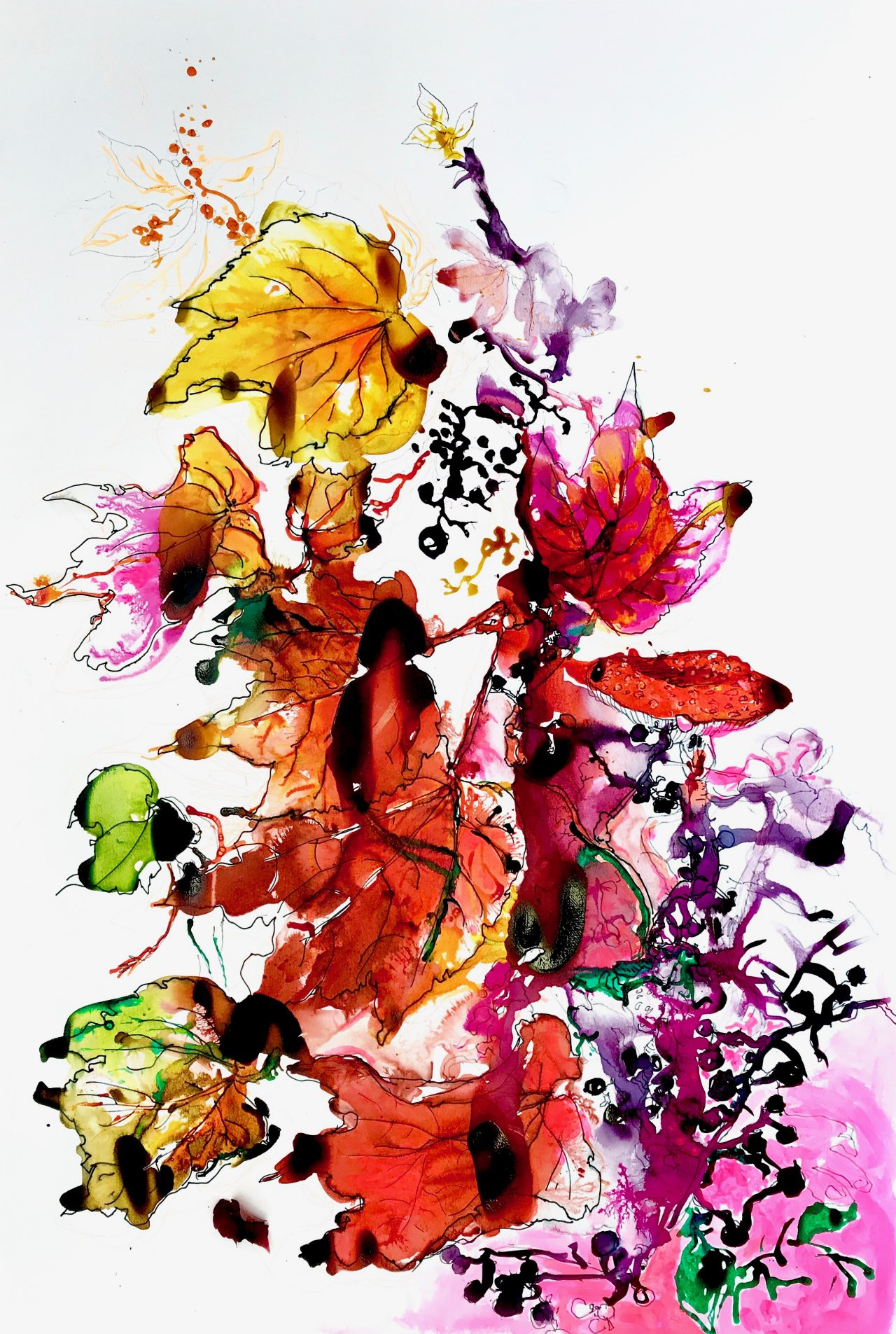 10, Composition d'automne rouge, encre sur papier,80x115cm, 2016jpeg