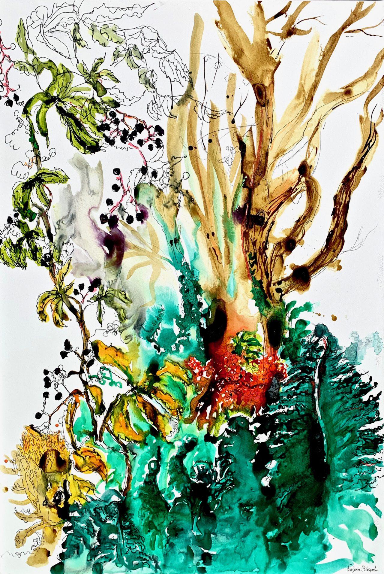 13, Composition d'automne vert, encre sur papier, 80x115cm, 2016