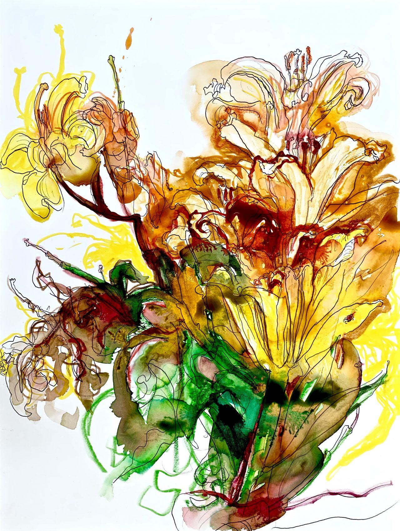 14, Bouquet, encre sur papier, 49x31cm, 2020