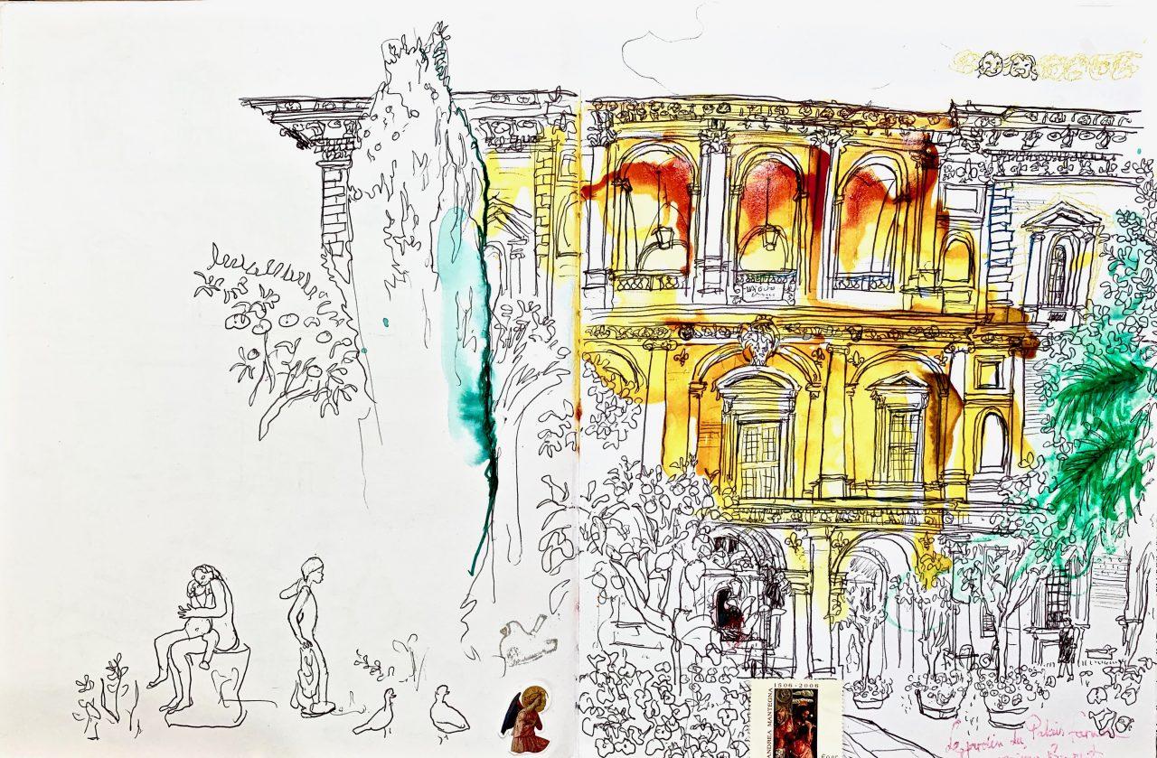 15 Rome, Palais Farnese, encre sur papier, 2009