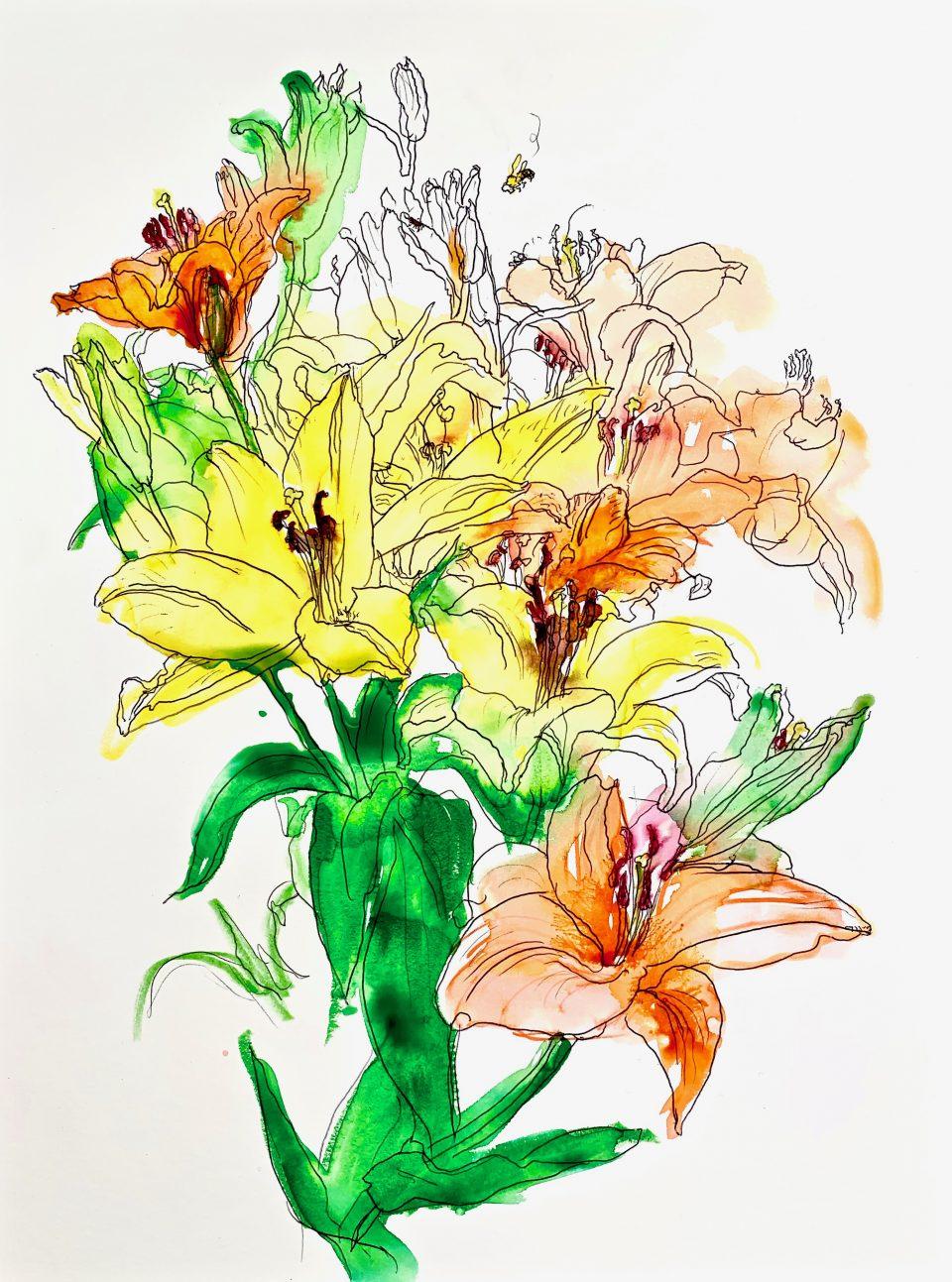 15 printemps, encre sur papier, 49x31cm, 2020