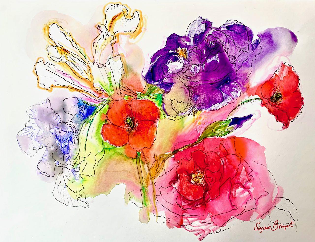 2 Bouquet de fleurs du jardin, encre sur papier, 49x31cm, 2020