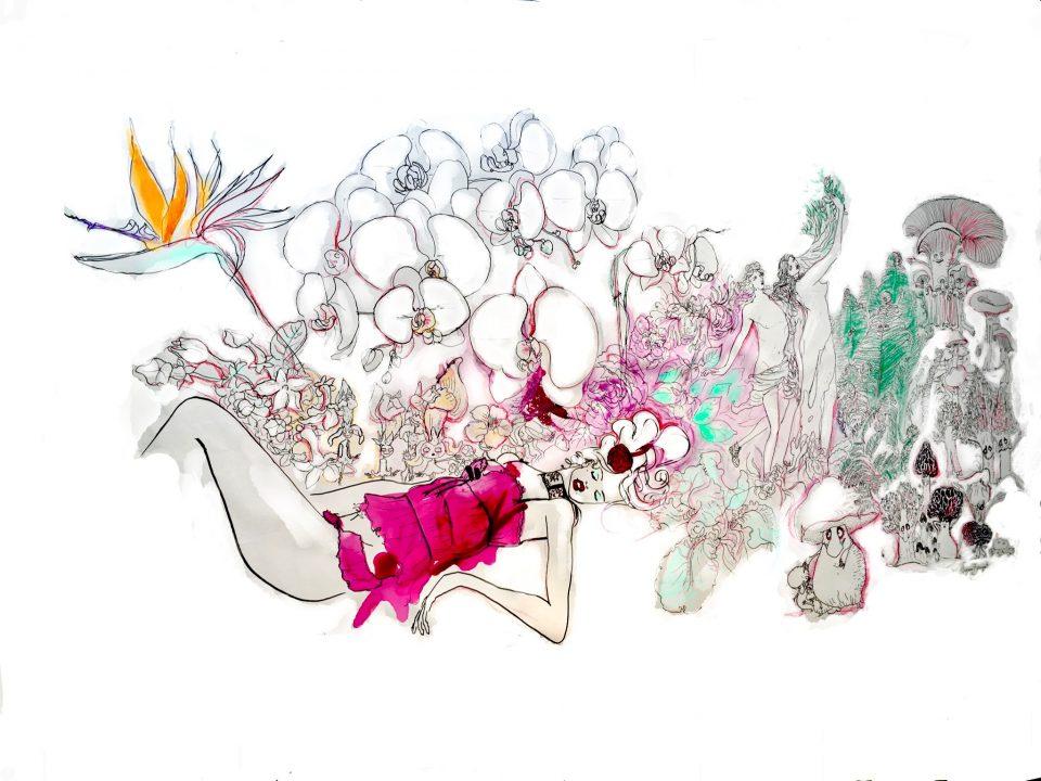 4 Femme Fleur, encre sur toile, 250x150cm, 2018