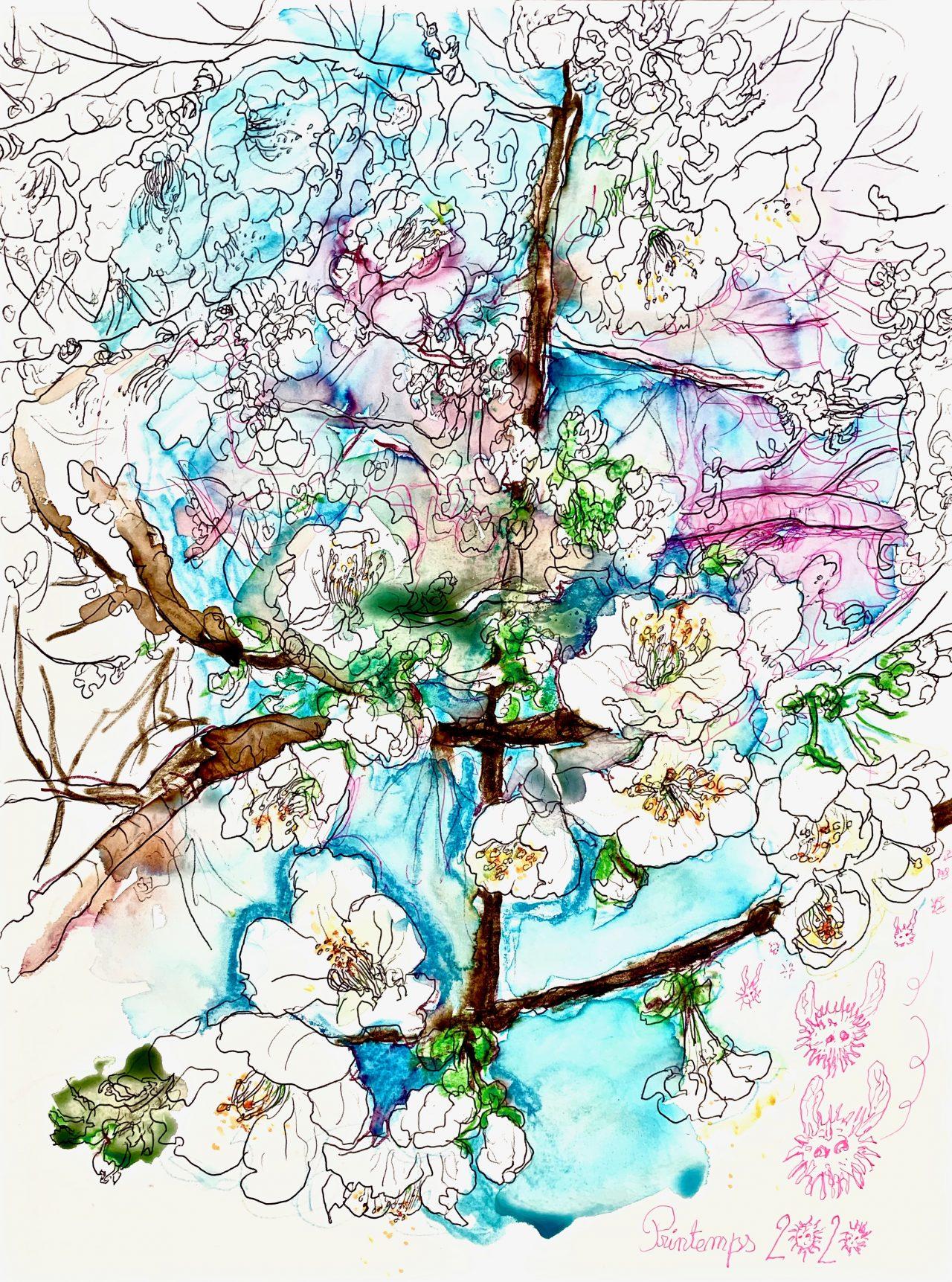 5 Cerisier en fleurs, encre sur papier, 42x56cm, 2020