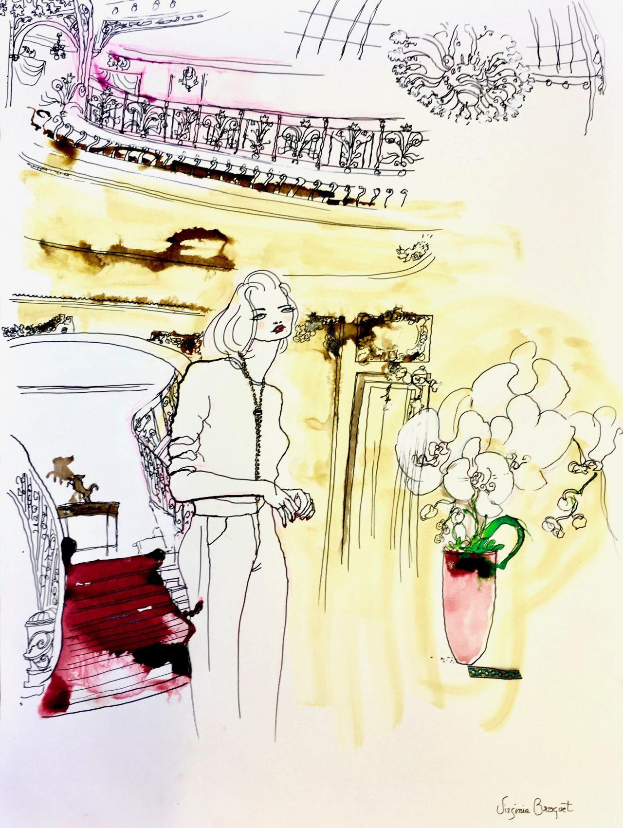 6 Monte Carlo chic, encre sur papier de Bambou, 90_95cm, 2019