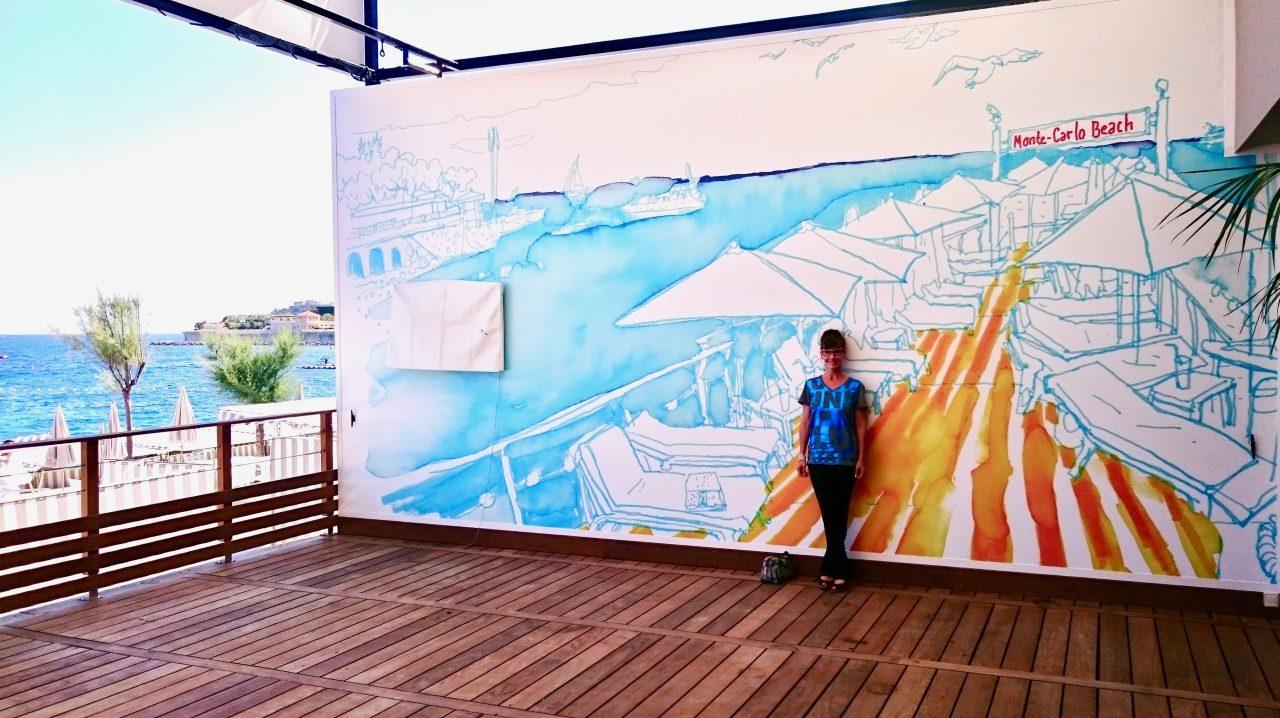 7 Peinture murale, Monte-Carlo Beach hôtel, 2018