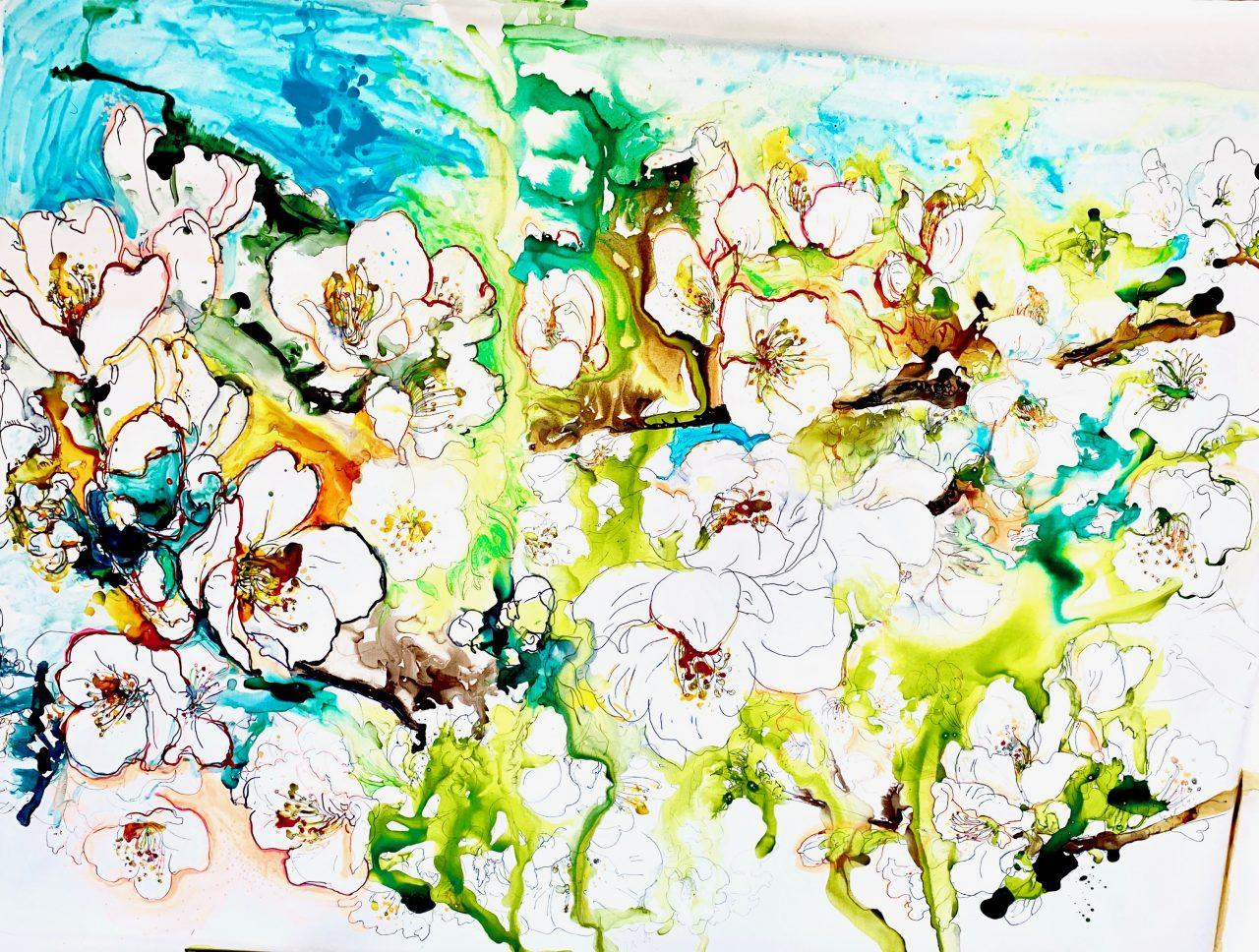 9, Cerisiers en fleurs, pigments sur toile, 200x150cm, 2018