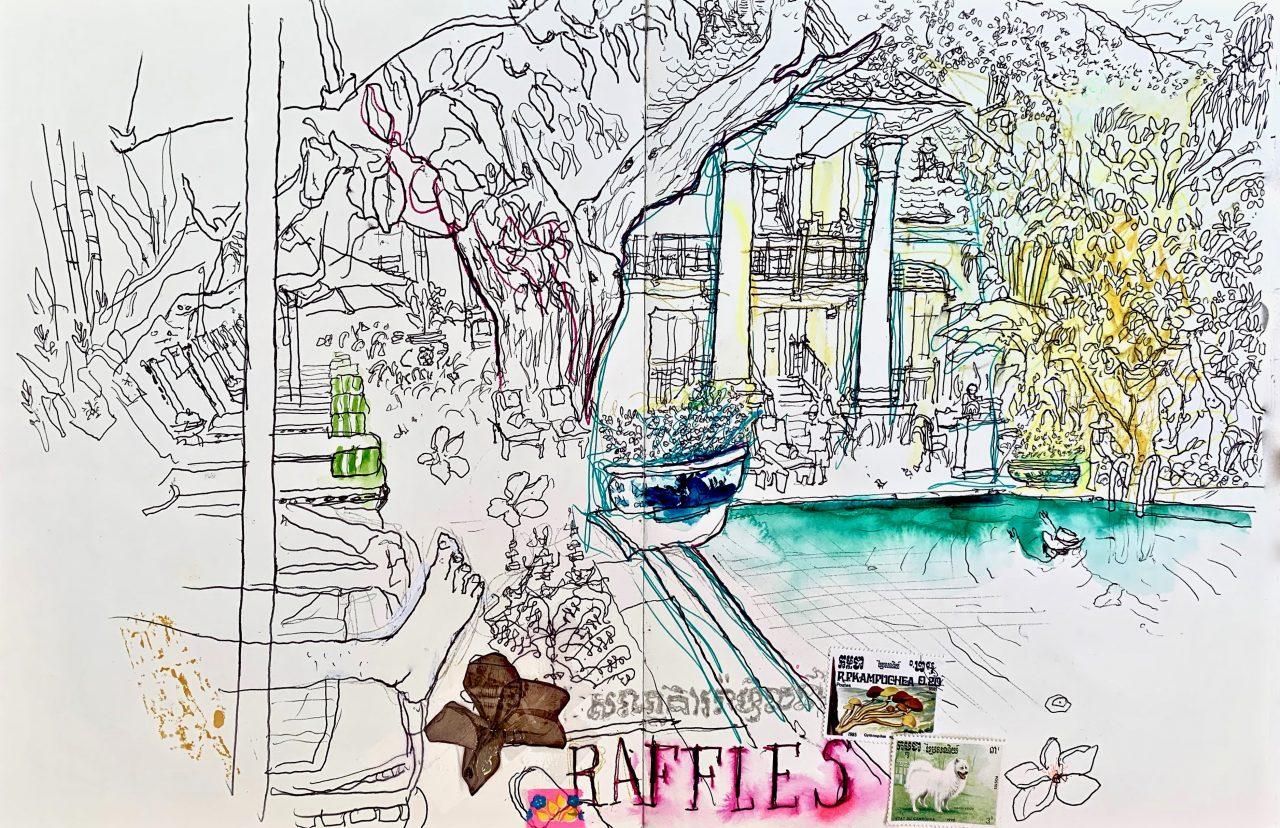 9 Raffles, Phnom Penh, encre sur papier, 2014